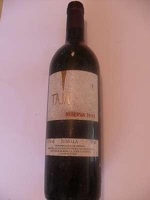 1993 er Taja Reserva Jumilla 13,5 % vol 0,75 lt Espana