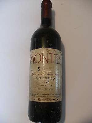 1996er Montes, Cabernet Sauvignon D. O. Curico, Chile 12,5 % vol. 0,75 lt